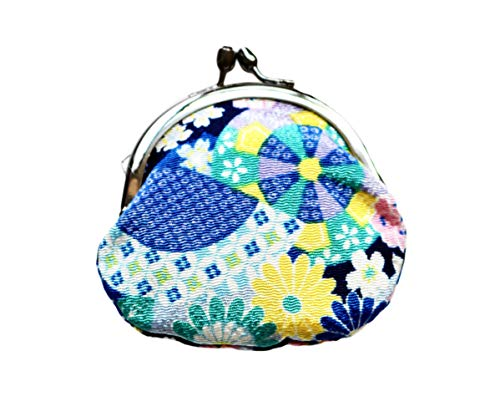 IYOYUINOH Japanese Traditional Chirimen Gamaguchi Coin Purse/Coin Case Kiku Sakura Kogire (Blue) ちりめん がま口 菊桜古裂(青)