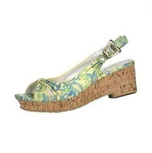 Sandalette Korkoptik von Blink aus Satin Grün