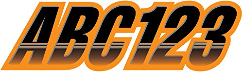 STIFFIE Techtron Black/Electric Orange 3 Alpha-Numeric Registration Identification Numbers Stickers Decals for Boats & Personal Watercraft
