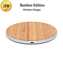 Qi Wireless Charger Pad, Wireless Charging Pad, Ultra Slim Wireless Charger, Classic Retro Wood Grain Metal Frame for Phone, Samsung Note 9/S9/Note 8/S8/S7/S7 Edge and Other Qi-Enabled Devices
