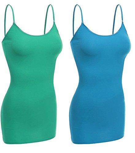 Emmalise Women Basic Built in Bra Spaghetti Strap Cami Top Tank - 2 Pk Green Teal, S (Shirt Spaghetti Strap Girls)