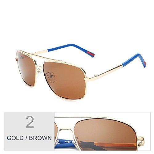 Verde Guía Aleación Oscuro De Gold Plaza Polarizadas Clásica Hombres De De Gafas Brown El Hombre Gafas Gun TIANLIANG04 Sol De La Sol Para xgqwwHR