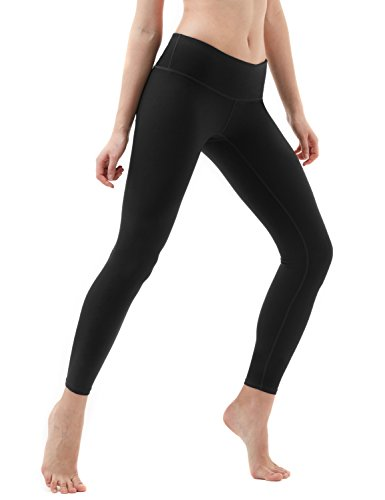 Tesla TM-FYP51-BLK_Medium Yoga Pants Mid-Waist Leggings w Hidden Pocket FYP51
