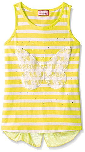 Dream Star Big Girls Yarn Dye Striped Top with Butterfly Lace Applique and Shirt, Sun, Large/14