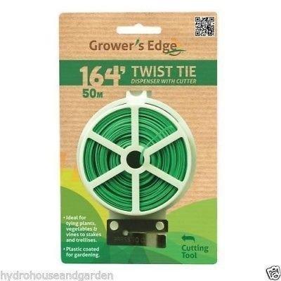 Garden Green Twist Tie Dispenser with Cutter 164' Plastic Coated Plant Support (Dispenser Tie Twist)