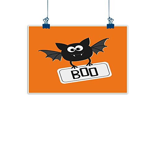 Home Wall Decorations Art Decor Halloween,Cute Funny Bat with Plate Boo Fangs Scare Frighten Seasonal Cartoon Print,Orange Black White for Boys Room Baby Nursery Wall Decor Kids Room Boys Gift 32