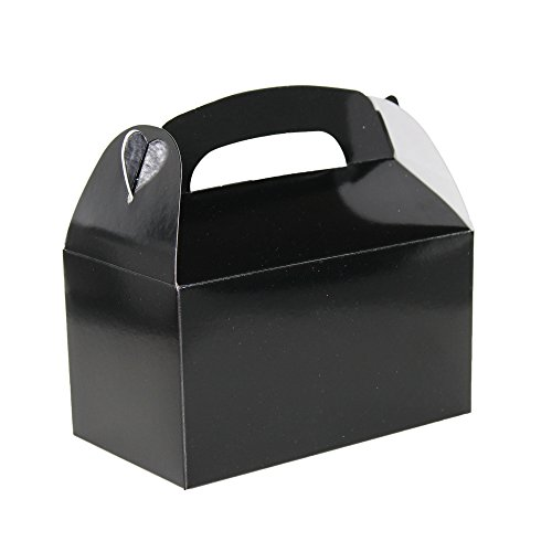 Black Bright Color Treat Boxes (Pack of 12) - Play Kreative TM (Black Favor)