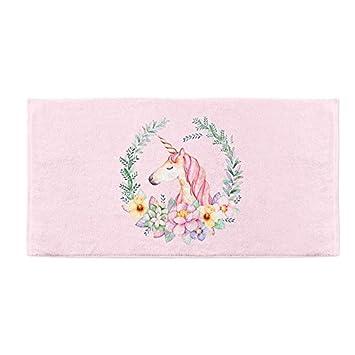 Mangeoo Sueño chica unicornio corazón diseño original casa de fibra de bambú toalla de playa toalla de baño diario 140x70cm,Unicornio rosa,140x70cm: ...