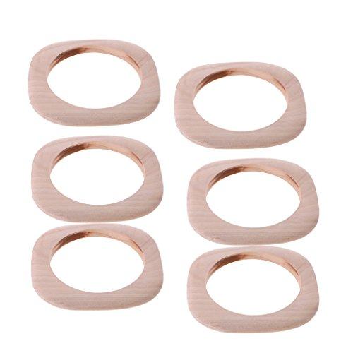 Baosity 6Pcs Unfinished Wooden Wood Bangle Bracelets DIY Square Bangle Women Girls -