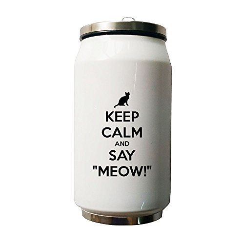 Kdnsgfds Keep Calm And Say Meow Double Vacuum Insulated Stainless Steel Coke Cans Water Bottle,280ml - Personalized Gift For Birthday,Christmas And New (Cocacola Can Costume)