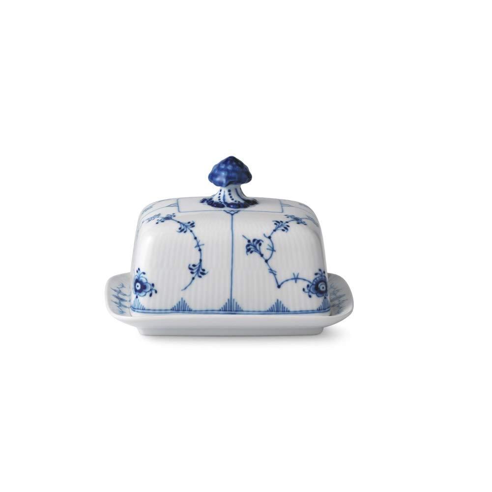 Royal Copenhagen Blue Fluted Plain Butter Dish 14 oz
