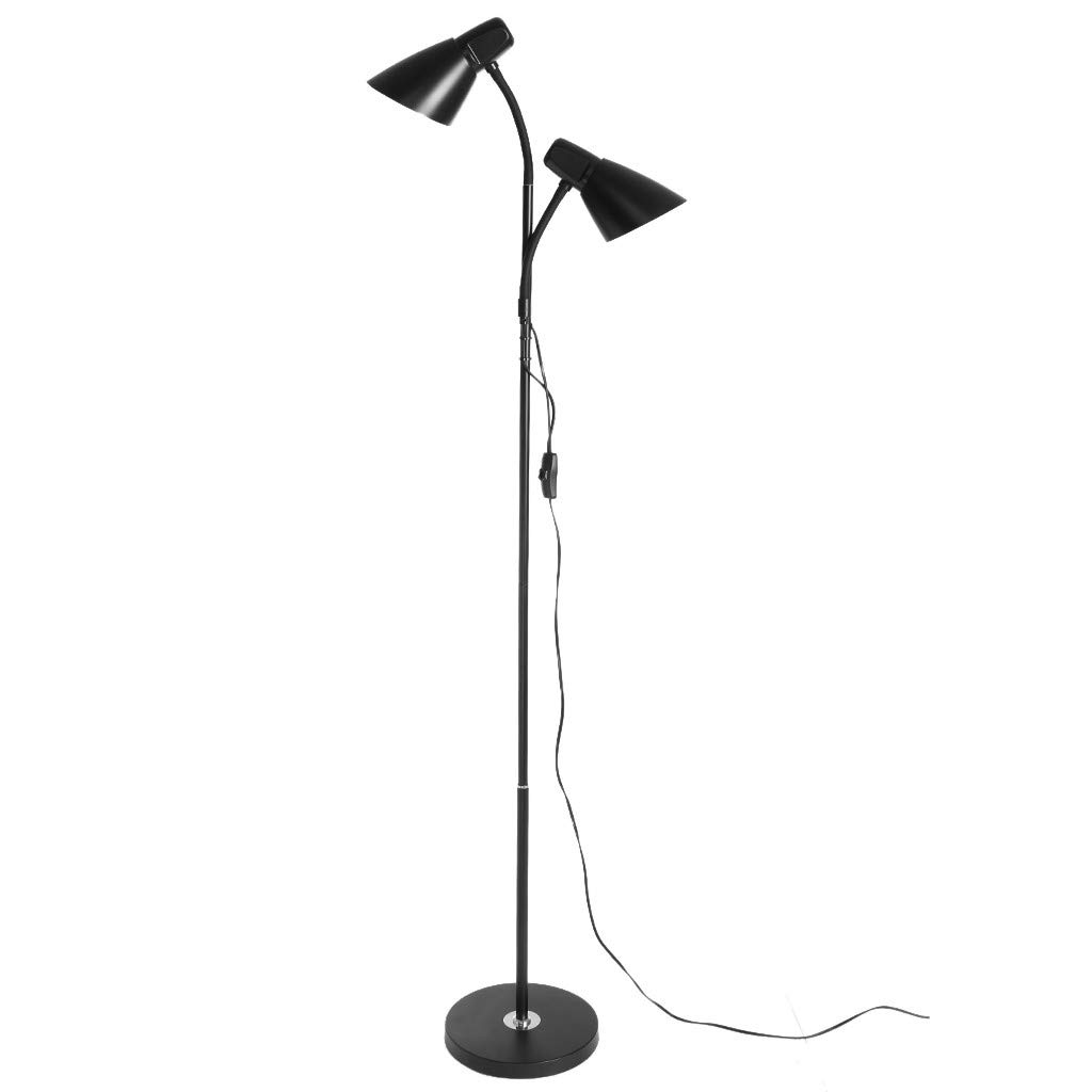 WONdere Metal Folding Floor Lamp, Adjustable Goose Neck Standing Lamp with Heavy Metal Based, Torchiere Light for Living Room, Bedroom, Study Room and Office (Double)