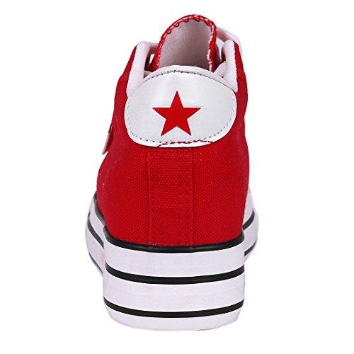 Buganda Dames Klassiek Canvas Platte Sneakers Casual Veter Verborgen Hak Plateauzolen Rood