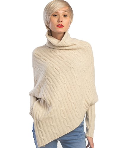 Classic Cashmere Turtleneck Sweater - cashmere 4 U 100% Cashmere Poncho Thick Cable Knit Turtleneck Open Side Sweater for Women