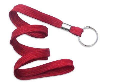Red Lanyard, flat braid, non-breakaway, split ring, 3/8