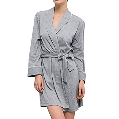 iLOOSKR Women's Pajamas Bathrobe Knitted Cotton Nightgown Long Sleeve Home Service Nightgown