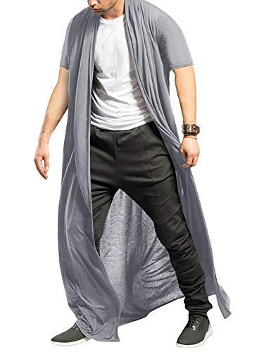 Men's Ruffle Shawl Collar Cardigan Open Front Outwear Long Cape Poncho Trench Coat (X- Grey, Medium)