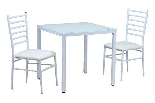 2人用 10ミリ厚強化ガラス ダイニングテーブル3点セット ホワイト(白) 75x75cm B005F1PIII ホワイト ホワイト