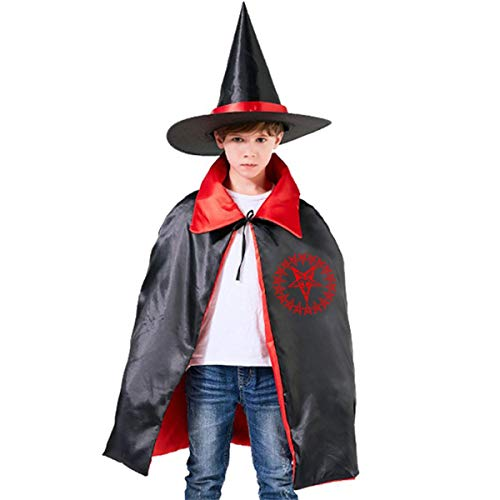 Wodehous Adonis Satan Baphomet Satanic Pentagram Childrens' Halloween Costumes Wizard Witch Cloak Cape Robe And Hat -