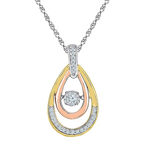 Diamond Moving Twinkle Pendant 1/6ct 10k White & Yellow & Rose Gold