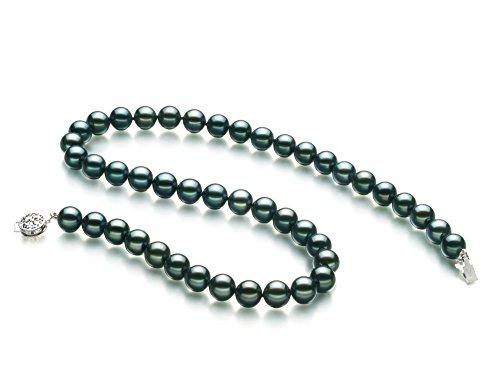 Noir 8-9mm AA-qualité Akoya du Japon 925/1000 Argent-Collier de perles