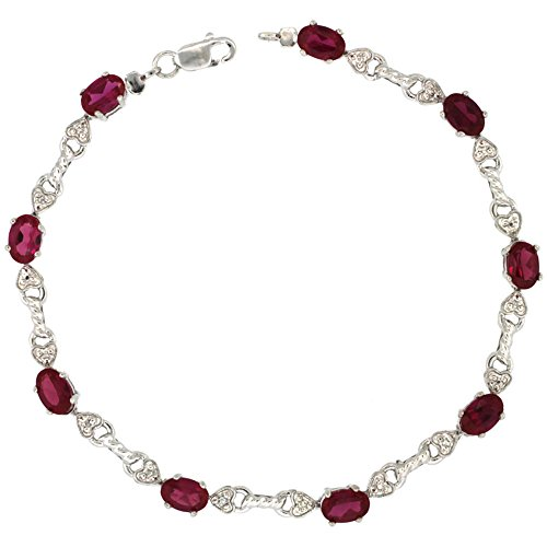 10k White Gold Braided Heart Tennis Bracelet 0.02 ct Diamonds & 4.50 ct Oval Created Ruby, 3/16 inch (10k Gold Ruby Bracelet)