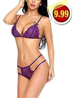 c4d2377dd7 Amazon.com  ADOME Women Sexy Lingerie Set Lace Halter 2 Piece ...