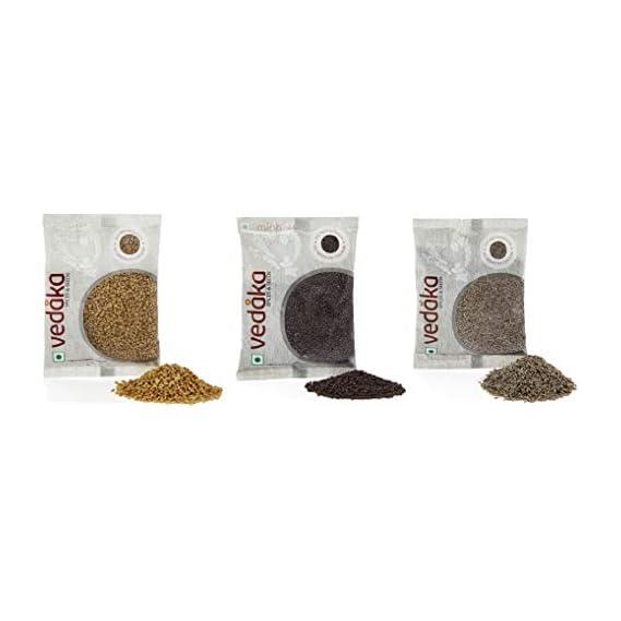 Amazon Brand - Vedaka Spice combo - Cumin Seeds (Jeera), Mustard Seeds (Rai) Big, Fenugreek (Methi), 300g (100g each)