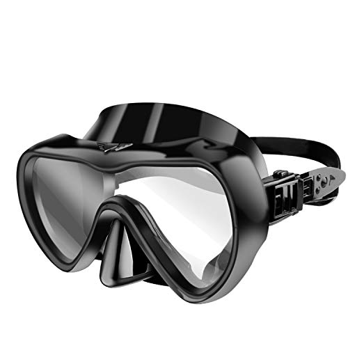 Venoro Diving Mask, HD Snorkeling Masks with Tempered Glass Lens Wide View Anti-Fog Impact Resistant Anti-Leak Silicone Mask Skirt and Adjustable Strap for Men Women Adult and Youth (Black)