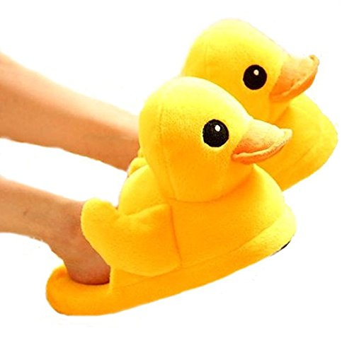 Mens Rubber Duck Costume (Cute Rubber Duck Winter Warm Slippers Plush Slippers (women (4-8)))