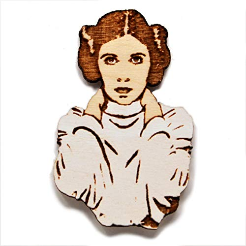 Princess Leia Hand-Painted Pin | Carrie Fisher Rebel Alliance Wood Brooch