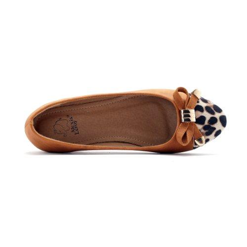 Alexis Leroy 2015 New Arrival Women Fashion Sexy Leopard Toe Knots Ballet Flats Shoes Camel LqsDQOg