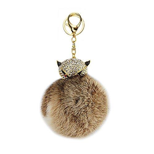 Cute Genuine Rabbit Fur Fuffy Pom Pom Ball Keyring Bling Rhinestone Crystal Fox Key Chains Ring Holder for Car Key Handbag Purse Cell Phone Keychains Charm Jewelry Pendant Bag Accessories Xmas - Ring Dad 18k