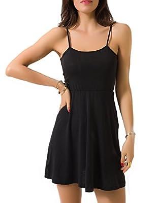 Sviuse Women's Sleeveless Basic Spaghetti Strap Casual Summer Beach Swing Short Dress