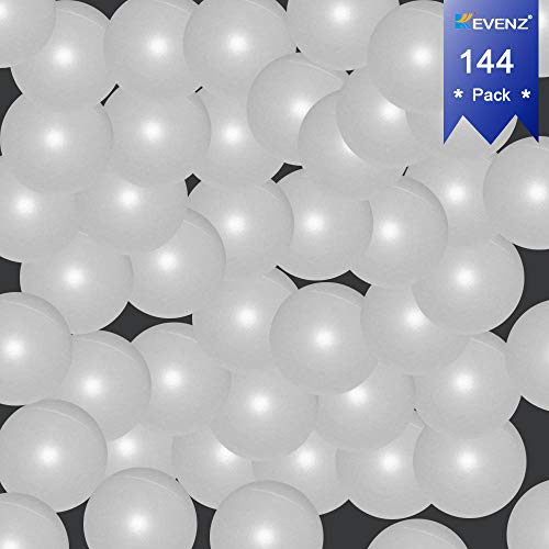 KEVENZ 144-Pack 40mm Beer Ping-Pong Multipul Color Balls,Washable Plastic Glow in The Dark, Plastic Table Tennis Ball