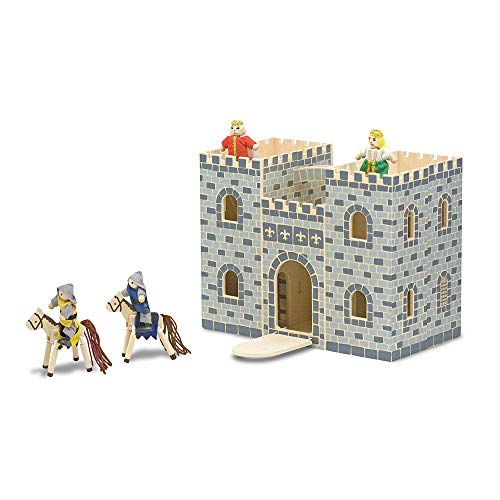 (Melissa & Doug Fold and Go Wooden Castle Dollhouse With  Wooden Dolls and Horses (12 pcs))