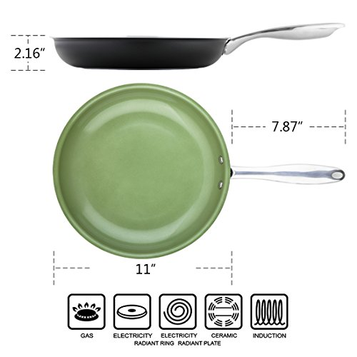 MICHELANGELO Ceramic Titanium Non Stick Frying Pan - Green 11 Inch, Non Toxic Non Stick Skillet with Stainless Steel Handle,PFOA PFAS Cadmium & Lead Free for Healthy Living, Induction Compatible