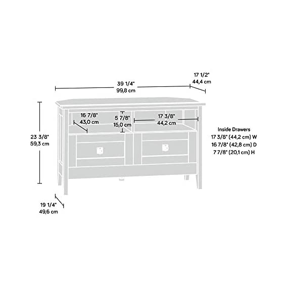 """Sauder August Hill Corner Entertainment Stand, For TV's up to 40"""", Oiled Oak finish - Accommodates up to a 40"""" TV weighing 95 lbs. or less Divided shelving holds audio/video equipment Hidden storage behind simulated drawer fronts/doors - tv-stands, living-room-furniture, living-room - 415y9igP39L. SS570  -"""
