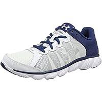 Under Armour Men's Micro G Assert 6 Running Sneakers (White/Blackout Navy/Metallic Silver)