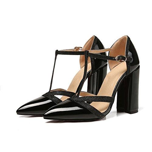 de Sandalias Sandalias Sandalias Sandalias Tamaño Tacones Señalo Sandalias Gran black Moda de Damas Sandalias EqfAA
