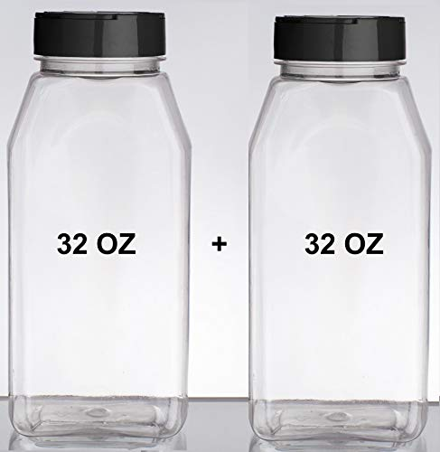 Set of 2 Spice Jars - 32 Onces Plastic General Use Storage Containers - with Black Dual Shake Lid