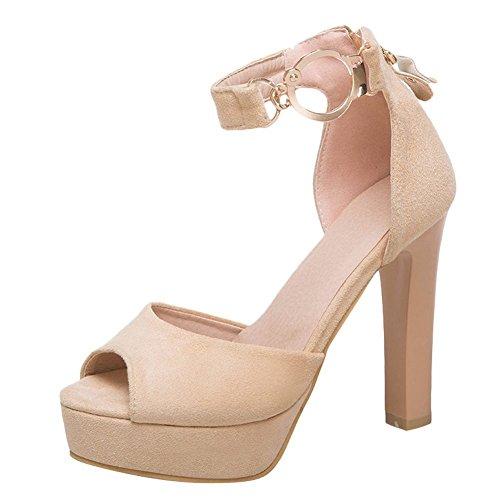 Mee Shoes Women's Charm High Heel Platform Sandals Apricot
