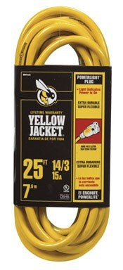Yellow Jacket 2886 EMW3008992 Contractor Extension Cord with Lighted Ends, 25 Foot, Yellow