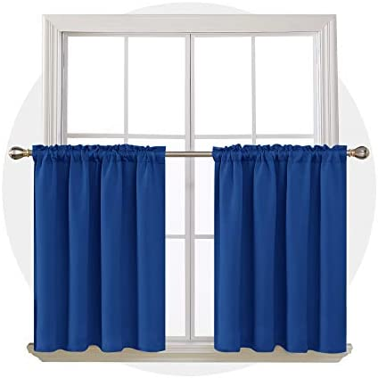Deconovo Solid Rod Pocket Curtain Panels Room Darkening Curtains Thermal Insulated Blackout Curtains for Bathroom Window 52Wx36L Inch Royal Blue 2 Drapes