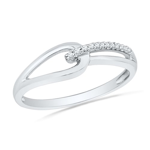 10KT White Gold Round Diamond Knot Fashion Ring (1/20 (Single Knot Ring)