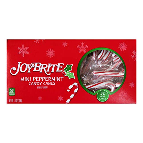 JoyBrite 32pc Mini Peppermint Candy Canes Christmas/Holiday Individually Wrapped 4.8 - Peppermint Christmas Express