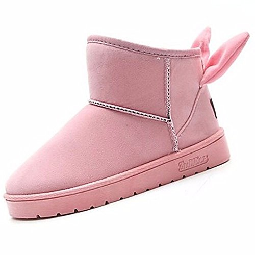 ZHUDJ Women'S Shoes Fall Winter Comfort Snow Boots Boots Round Toe Mid-Calf Boots For Casual Blushing Pink Gray Black Pink 7D7zMw2qU8