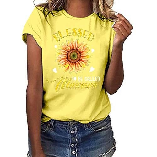 (NCCIYAZ Womens T-Shirt Top Plus Size Many Stylish Sunflower Love Print Short Sleeve Summer Fashion Ladies Blouse(2XL(12),Yellow-Big Flower))