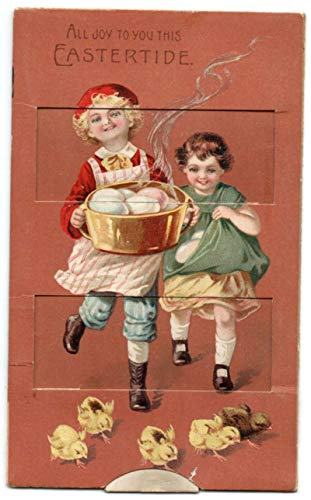 Easter Greetings Children Chicks Mechanical Vintage Postcard AA307