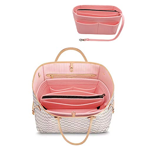 LEXSION Felt Purse Insert Handbag Organizer Bag in Bag Organizer with Handles Holder 8021 Pink L (Louis Vuitton Bags New)